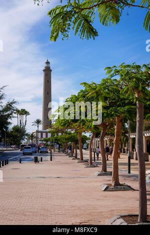 Lighthouse in Maspalomas, popular travel destination on Gran Canaria. - Stock Photo