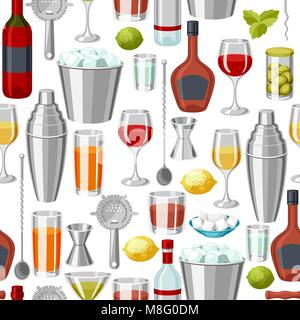 Cocktail bar seamless pattern. Essential tools, glassware, mixers and garnishes. - Stock Photo