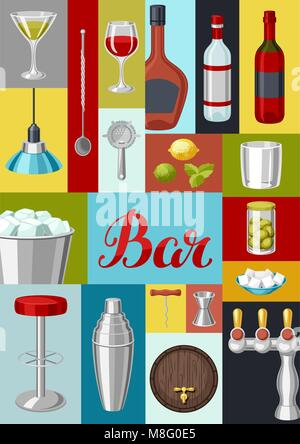 Cocktail bar background. Essential tools, glassware, mixers and garnishes. - Stock Photo