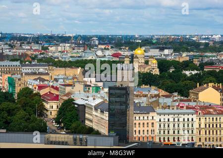 Riga, Latvia. August 23, 2017. Aerial view of Riga Old Town from Latvian Academy of Sciences (Zinatnu akademija) - Stock Photo