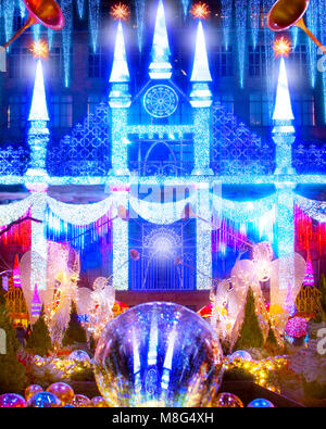 The wonderful and amazing Christmas laser light show projected on the front of Saks Fifth Avenue at Rockefeller - Stock Photo