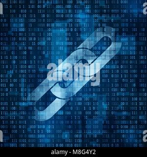 Chain symbol. Blockchain hyperlink symbol on binary code. Abstract blue matrix background. Number big data flow - Stock Photo