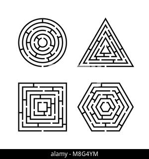 Set of Labyrinth Different Shapes for Game. Maze square, round, hexagon and triangle puzzle riddle logic game concept. - Stock Photo