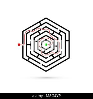 Hexagon maze with way to center. Problem, Business confusion and solution concept. Flat design. Vector illustration - Stock Photo