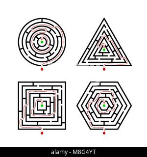 Set of Labyrinth Different Shapes for Game with with the marker correct route. Maze square, round, hexagon and triangle - Stock Photo
