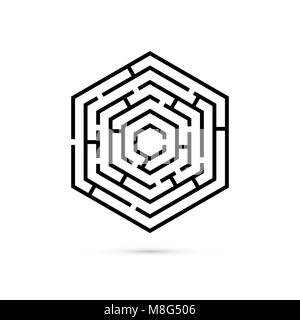 Hexagon maze. Business confusion and solution concept. Flat design. Vector illustration on white background - Stock Photo