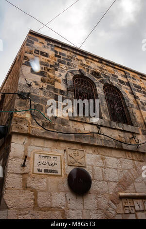Street sign Via Dolorosa in Old City, Jerusalem - Stock Photo