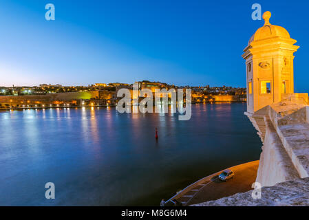 Guardiola Gardens tower and view over Valletta,Malta. - Stock Photo