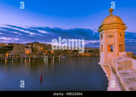 Famous Senglea Guardiola tower and Valletta in Malta. - Stock Photo