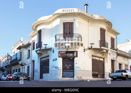 Montevideo, Uruguay - February 25th, 2018: Old closed cafe at a corner of the downtown near the Port of Montevideo. - Stock Photo