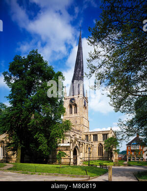 St. Mary and All Saints Church Chesterfield, Derbyshire England United Kingdom - Stock Photo