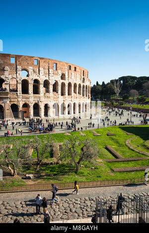 The Colosseum or Coliseum from Palatine Hill. Also known as the Flavian Amphitheatre, an oval amphitheatre in the centre of the city of Rome, Italy.