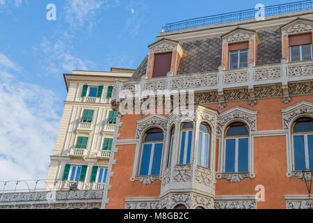 GENOA (GENOVA), JULY, 1, 2017 - Details of vintage palaces in the center of Genoa (Genova) , Italy. - Stock Photo