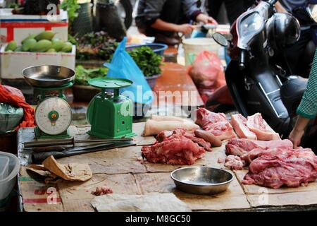 Hanoi, Vietnam - March 15, 2018: Meat sold on the streets of central Hanoi - Stock Photo