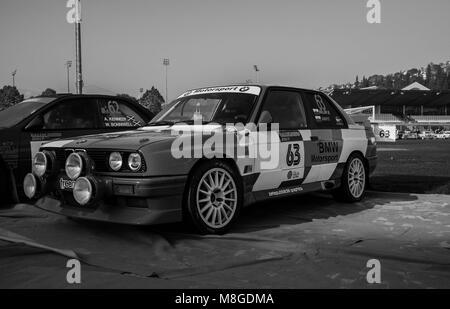 SANMARINO, SANMARINO - OTT 21, 2017 : BMW M3 E30 1988 in old racing car rally THE LEGEND 2017 the famous SAN MARINO - Stock Photo