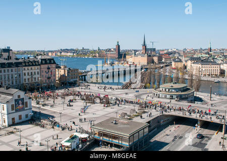 Aerial view from Katarina elevator during a demonstration at Slussen traffic hub on International Worker's day. - Stock Photo