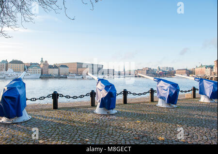 View from Skeppsholmen during fall in Stockholm towards the Old Town and the Royal Palace. - Stock Photo