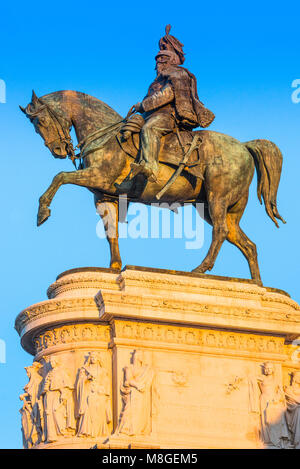 The equestrian statue of Victor Emmanuel on the Monument to Vittorio Emanuele II, Rome. Italy. - Stock Photo