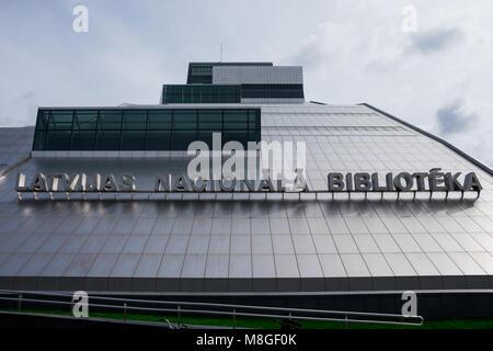 Riga, Latvia. August 23, 2017. National Library of Latvia main building (Latvijas Nacionala biblioteka) - Stock Photo