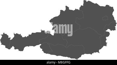 Map of Austria split into regions - Stock Photo