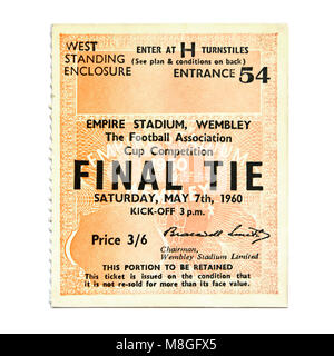 Value inflation & prices reflected in this old historical London football ticket stub with vintage 1960s price tag - Stock Photo