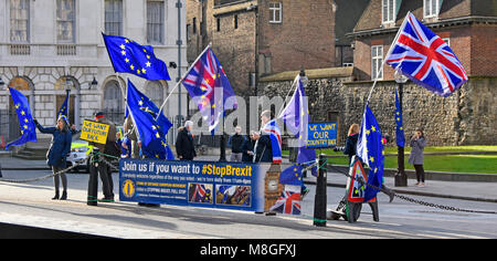 Stop Brexit protest facing toward Houses of Parliament waving Union Flag & European Union flags & placards Palace - Stock Photo