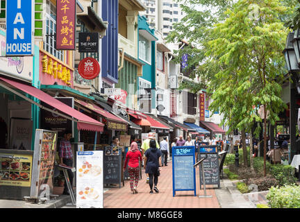 Bars and restaurants on Boat Quay, Central Area, Central Region, Singapore - Stock Photo