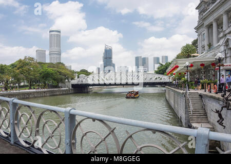 Anderson Bridge and Singapore River from Cavenagh Bridge, Marina Bay, Central Area, Singapore Island (Pulau Ujong), - Stock Photo