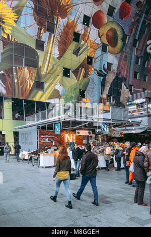 Market Hall Markthal Rotterdam, Netherlands. Interior view. Designed by MVRDV. - Stock Photo