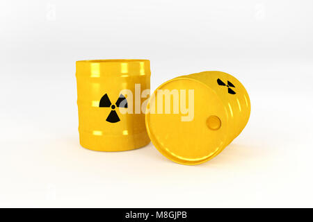 Yellow Radioactive barrels isolated on white background.3d rendering. - Stock Photo