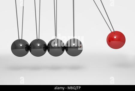Balancing Balls Newton's Cradle on white background.3d rendering. - Stock Photo