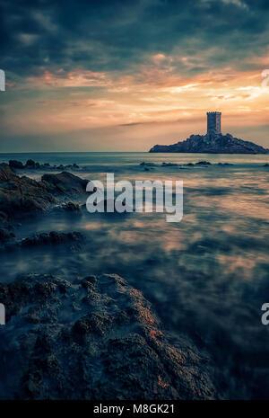 L'Ile d'Or island on the French Riviera Coastline - Stock Photo