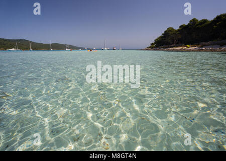 Popular beach Saharun on island Dugi Otok in Dalmatia, Croatia - Stock Photo