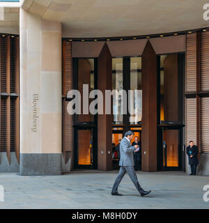 London, UK- Mar 13, 2018: Front external view of the of the entrance to the new Bloomberg European head office, - Stock Photo
