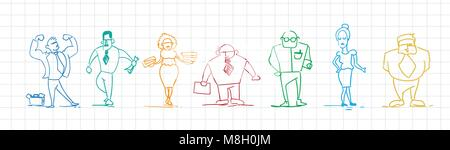 Set Of Colorful Doodle Business People Hand Drawn Businessmen And Businesswomen - Stock Photo