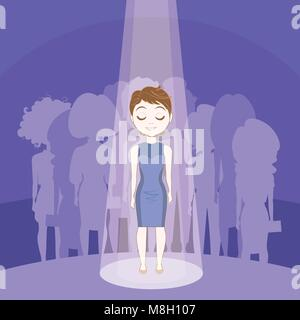 Young Woman Standing Out Crowd In Spot Light Over Silhouette People Group Background - Stock Photo