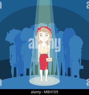 Young Girl Standing Out Crowd In Spotlight Over Silhouette People Group Background - Stock Photo