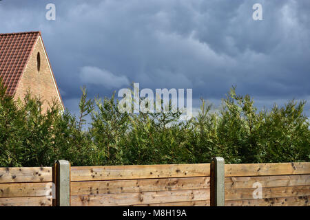 Dark rainy clouds, wooden fence, green cypress hedge, wooden fence and brick house - Stock Photo