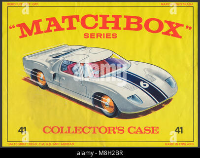 Matchbox Series diecast toy car carrying case front.  Features Lesney Matchbox artwork from the Sixties of a Ford - Stock Photo