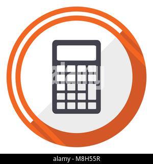 Calculator orange flat design vector web icon - Stock Photo
