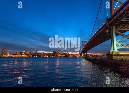 Benjamin Franklin Bridge connecting Philadelphia and Camden, New Jersey, USA - Stock Photo