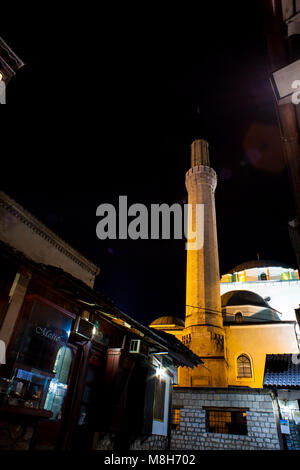 Night view of the Gazi Husrev-bey Mosque in Sarajevo - Stock Photo