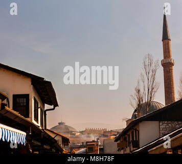 SARAJEVO, BOSNIA-ERZEGOVINA - FEBRUARY, 16: View of the Bascarsijska Dzamija minaret on February 16, 2018 - Stock Photo