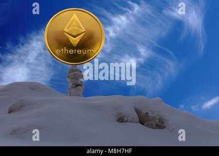 ethereum is a modern way of exchange and this crypto currency is a convenient means of payment in the financial - Stock Photo