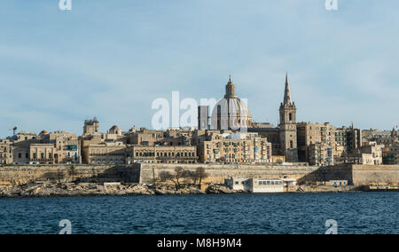 Night and day view of Valletta from Sliema Malta - Stock Photo