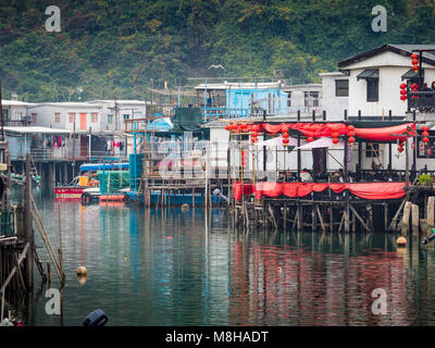 Tai O fishing village on Lantau Island Hong Kong, famous for its stilted buildings over the harbour - Stock Photo
