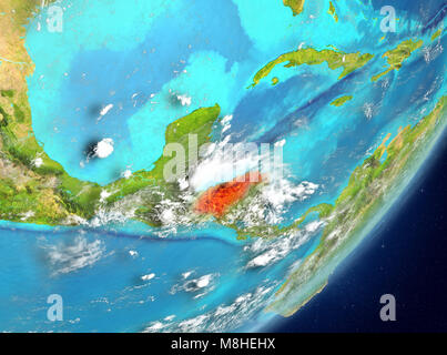 Satellite view of Honduras highlighted in red on planet Earth with clouds. 3D illustration. Elements of this image - Stock Photo