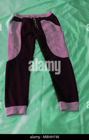 Black leggings pants isolated on white background - Stock Photo