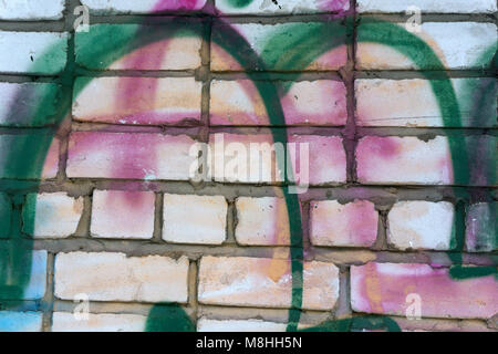 Close-up of abstract dirty painted wooden surface, flowing paint of different bright colors, as graffiti. Colorful - Stock Photo
