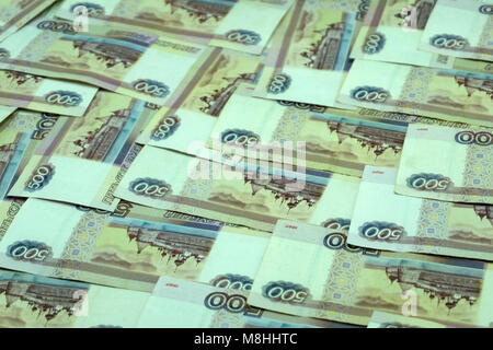 Money Russian banknotes dignity thousand, five hundred rubles background - Stock Photo